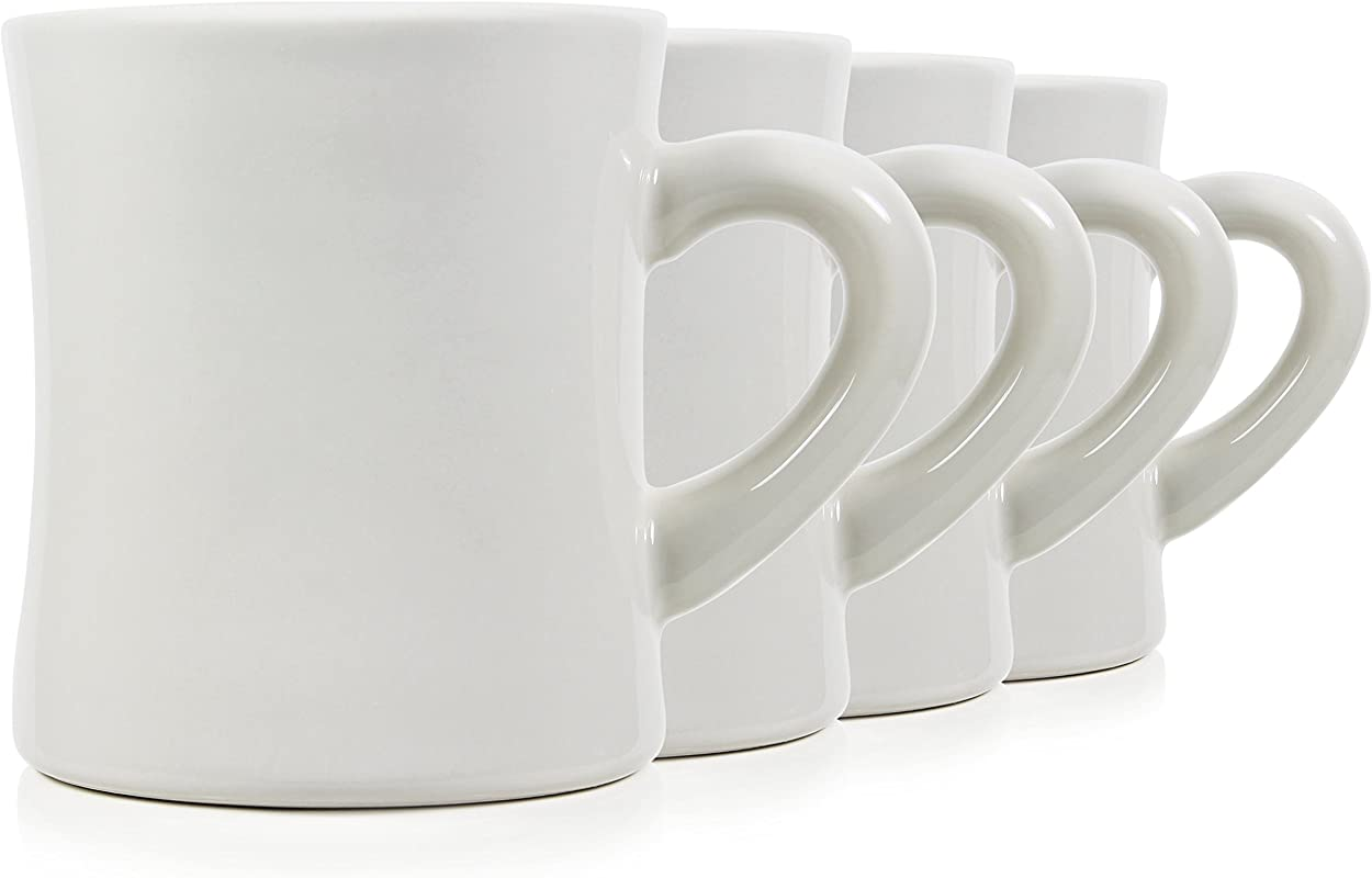 Serami Classic Cream White Diner Mugs For Coffee With 11oz Capacity Set Of 4