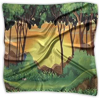 Bandana Head and Neck Tie Neckerchief,Cartoon Sunset Over Hills Tree Spring Season Inspirations Green Bushes,Headband