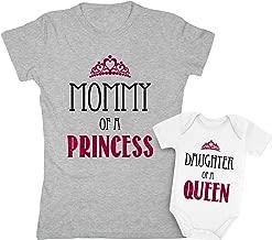 Mommy of a Princess & Daughter of a Queen Mother & Daughter Matching Set Shirt Bodysuit Clothing Newborn/Women Medium, Women Gray/Baby White