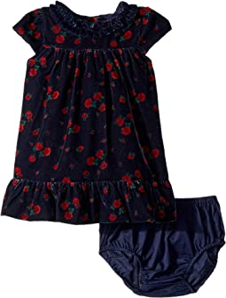 Cap Sleeve Velvet Dress (Infant)