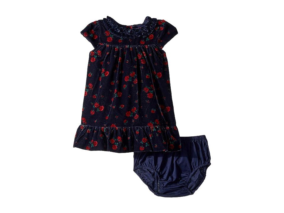 Janie and Jack Cap Sleeve Velvet Dress (Infant) (Navy Floral) Girl