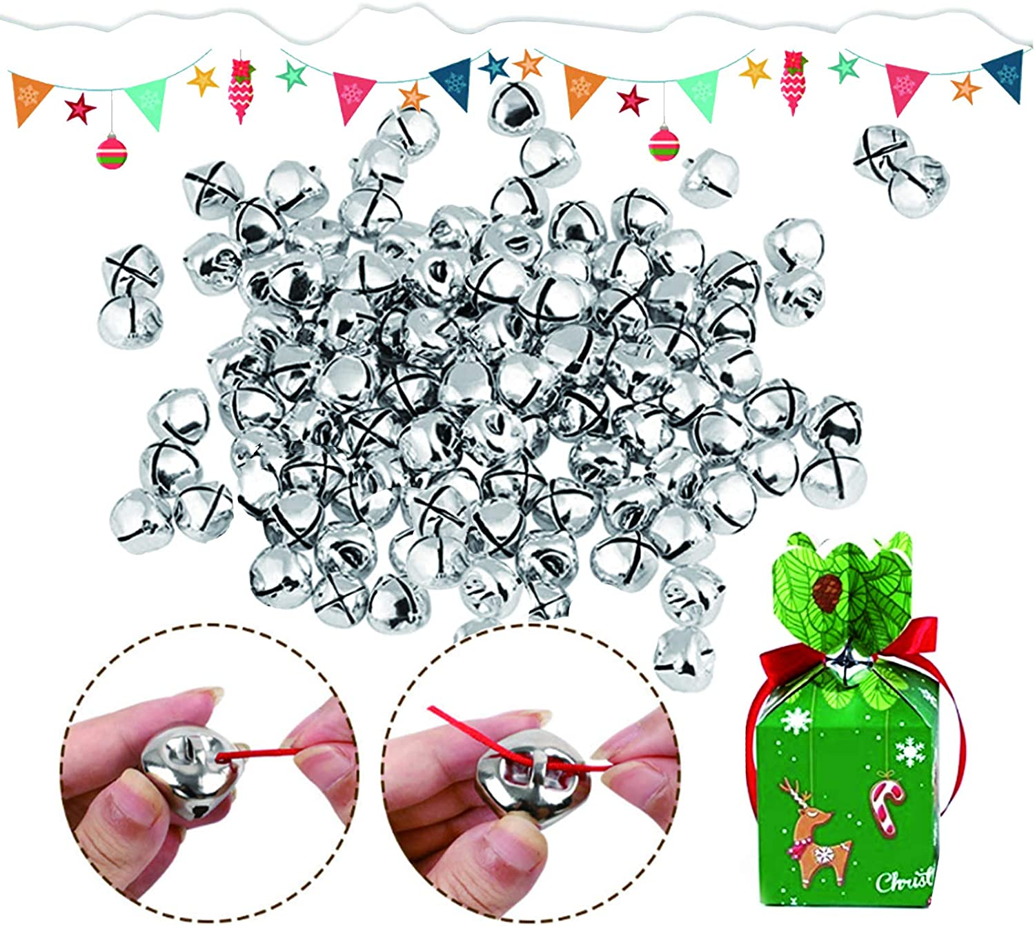 0.5 Inch Christmas Metal Bells Craft for Festival Decoration 1//2 Inch Craft Bells DIY Bells for Wreath Charms Jewelry Making 300Pcs Jingle Christmas Bells 0.5 inch, Sliver