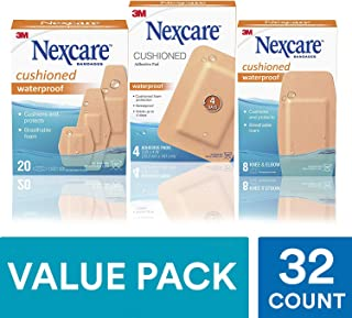 Nexcare Cushioned Waterproof Bandages Value Pack, 32 Count