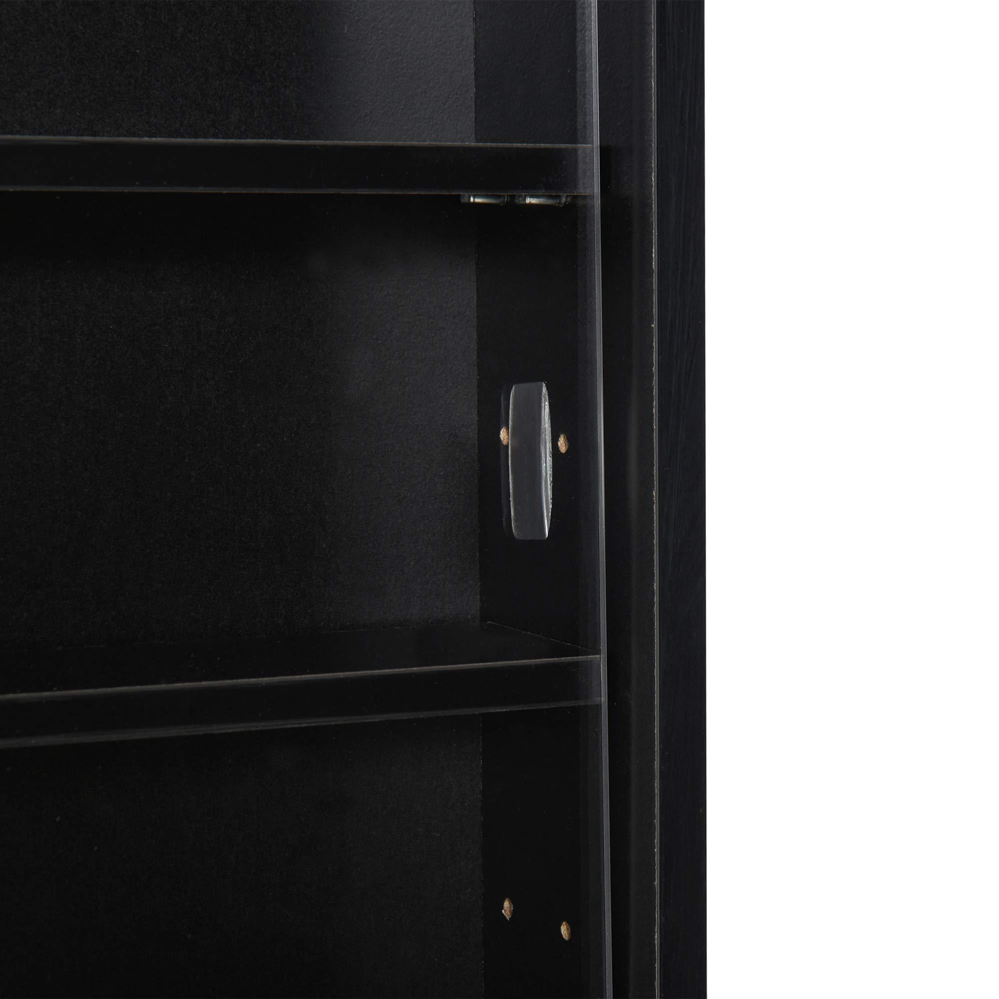 HOMCOM 5-Tier Wall Display Shelf Unit Cabinet w// 4 Adjustable Shelves Glass Doors Home Office Ornaments 60x80cm Black//White