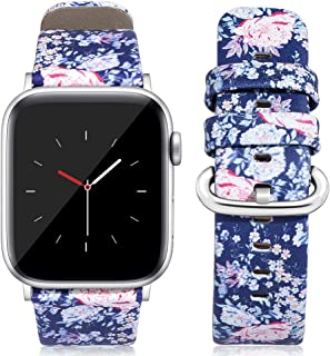 Kaome Compatible for Leather Apple Watch Band 44mm 42mm, Women Floral Strap Wrist, Replacement Bands for iWatch Series 4, Series 3, Durable Prints, Smooth Synthetic Leather - Pure Camellia