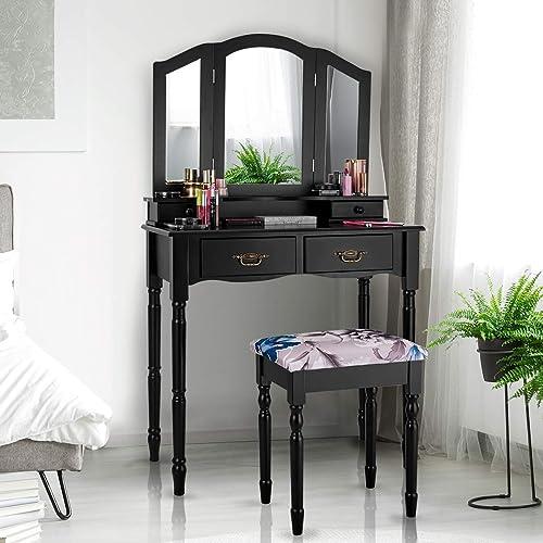 wholesale Giantex Vanity Table popular Set with Tri-Folding Mirror, Makeup Dressing online Table with 4 Drawers, Bedroom Vanity with Padded Stool, Room Desk Vanities, Black online sale