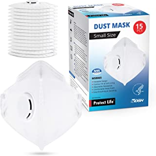 Small Size Dust Mask - 15 pack - Safety N95 Particulate Respirator with Breathing Valve | 4-Layers Protection from Dust, Pollution, Allergens & more