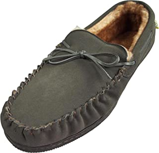 NORTY Mens Suede Leather Moccasin Slipper Grey 39863-12D(M) US