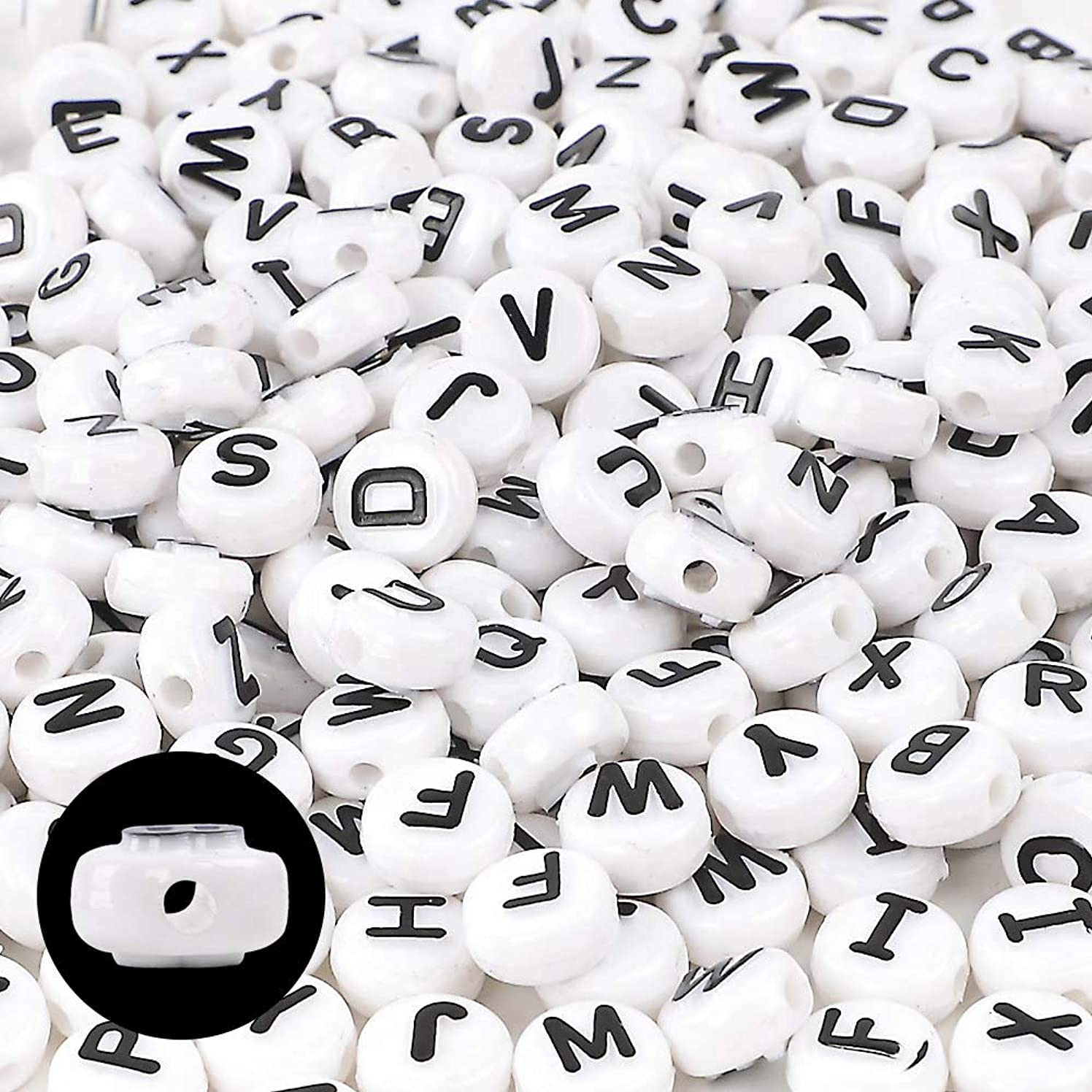 DICOBD 300pcs 10mm Letter Beads Acrylic White Alphabet Beads with Black Bulge Letters for Jewelry, Key Chain, Bracelet and Necklace Making