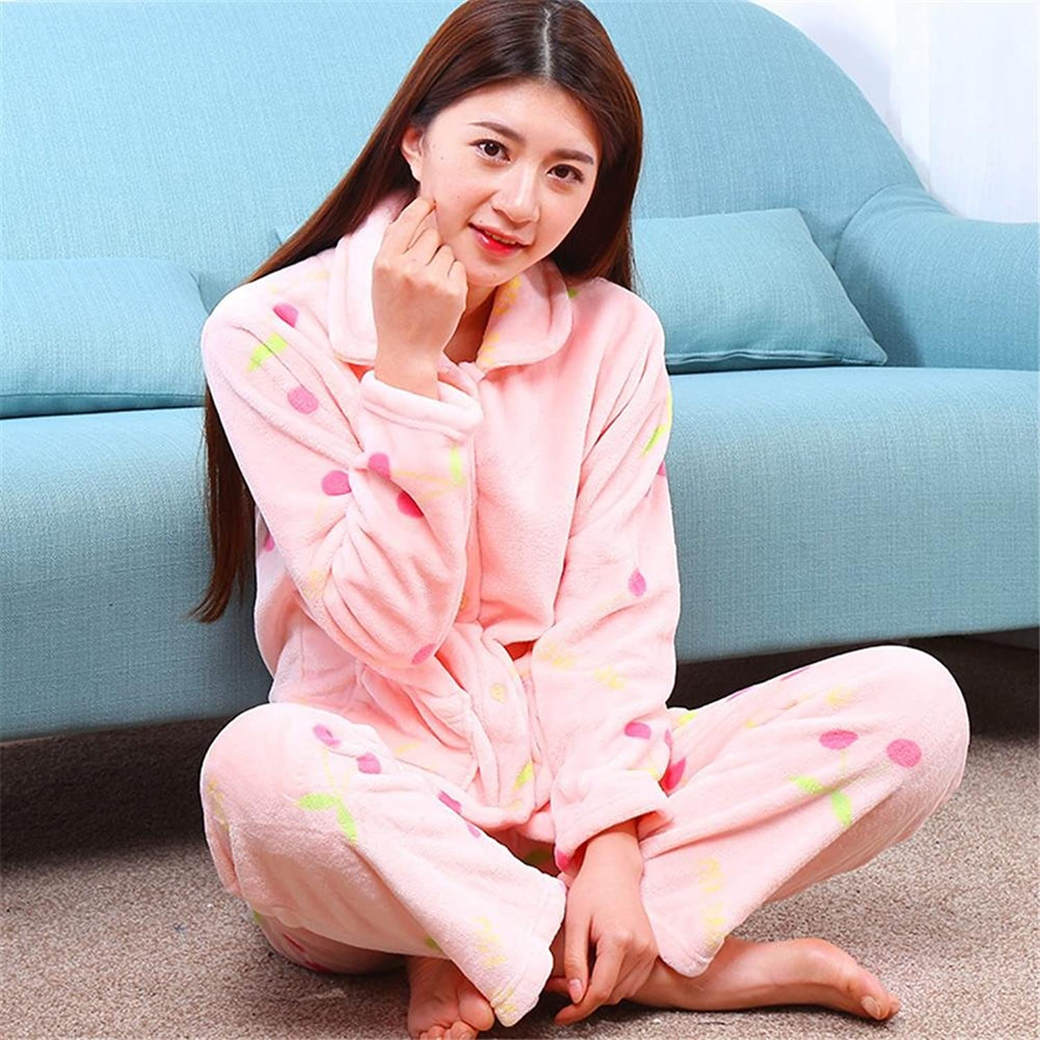 DONG Comfortable Flannel Long Sleeve Padded Pyjamas For Leisure