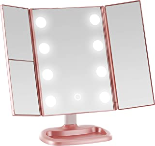 Miss Sweet Big Bulb Tri-fold Makeup Mirror Vanity Mirror with 1X/2X/3X Magnification (Rose Gold)