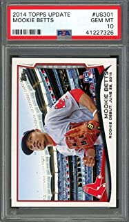 2014 topps update #us301 MOOKIE BETTS boston red sox rookie card PSA 10 Graded Card