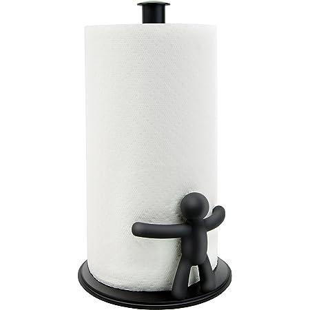 UMBRA Buddy paper towel holder. Porte papier absorbant Buddy. Coloris noir. Dimension 17.8 x 31.8cm