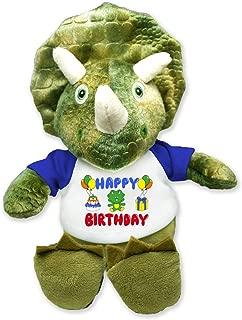 Flutter Hut Happy Birthday Triceratops Plush Dinosaur Message T-Shirt Blue Sleeves 8 Inches