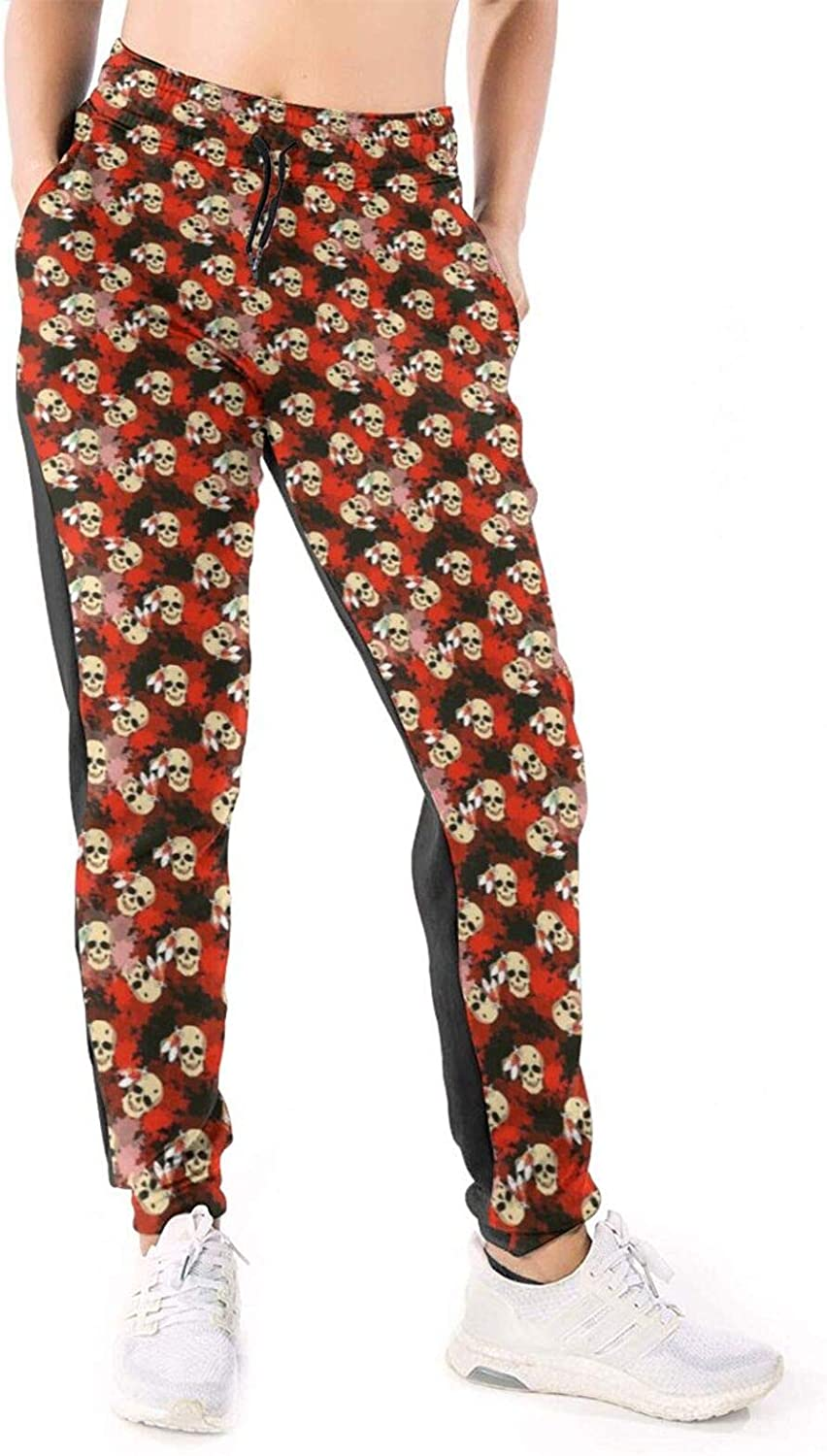 Women Joggers Pants Indian Tribe Headress Skull Athletic Sweatpants with Pockets Casual Trousers Baggy