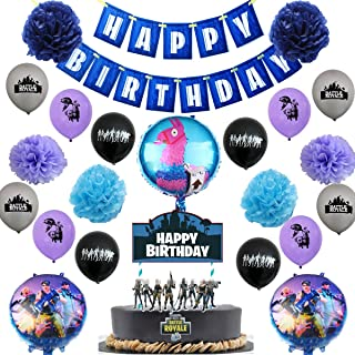 Video Game Party Supplies - 21 Video Game Party Decoration Pack Including 15 Video Game Ballons, a Happy Birthday Banner, a Cake Topper, 6 Tissue Paper pom poms, Great for Boys Birthday Parties