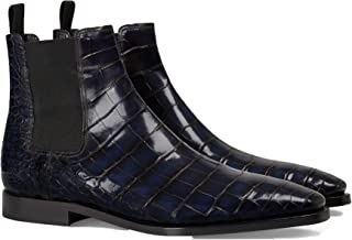 Costoso Italiano Navy Blue Alligator Textured Leather Formal Lace Up Dress Boots for Men