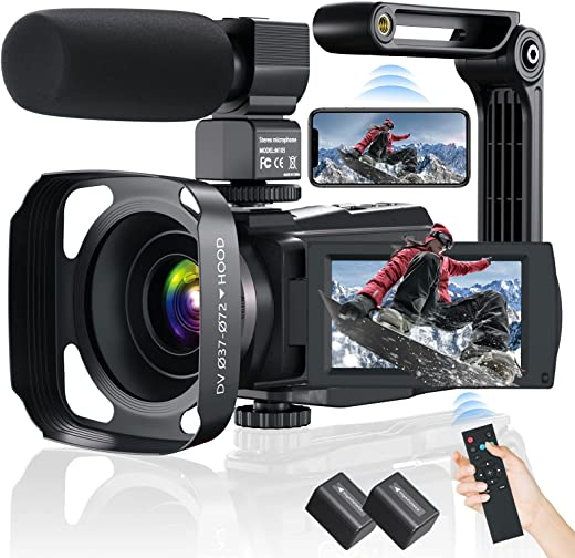 Video Camera Camcorder, AiTechny 4K Digital Camera 48MP 60FPS WiFi YouTube Camera IR Night Vision Touch Screen 16X Digital Zoom Vlogging Recorder with Mic, 2 Batteries, Remote Control