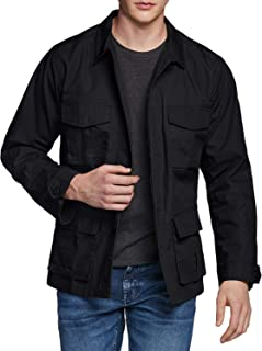 CQR Men's Casual Military Jacket, Water Repellent Field Army Jackets, Outdoor Ripstop Utility Jackets