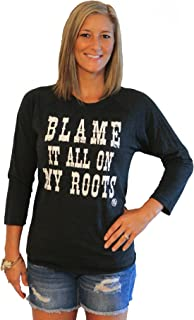 Country Shirt for Women Blame it All on My Roots Baseball T Black/W