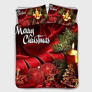RESUXI Juego de Funda nórdica Doble navideña, Paquete de Ropa de Cama Impresa en 3D Funda de Almohada con Funda de edredón navideña, Juego de Funda nórdica navideña Individual@H_El 150 * 200cm