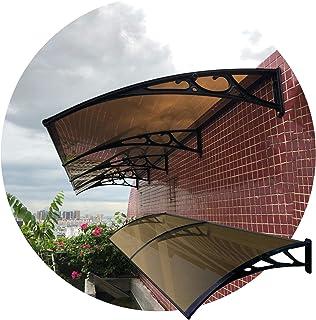 LIANGJUN 屋根庇 ひさし雨よけ 住宅用ひさし パティオ日除けそしてキャノピー テラス, 褐色 半透明 ポリカーボネート 太陽 シェッター、 UV 雨 耐性 保護、 黒 ブラケット (Size : 360CMx60cm)