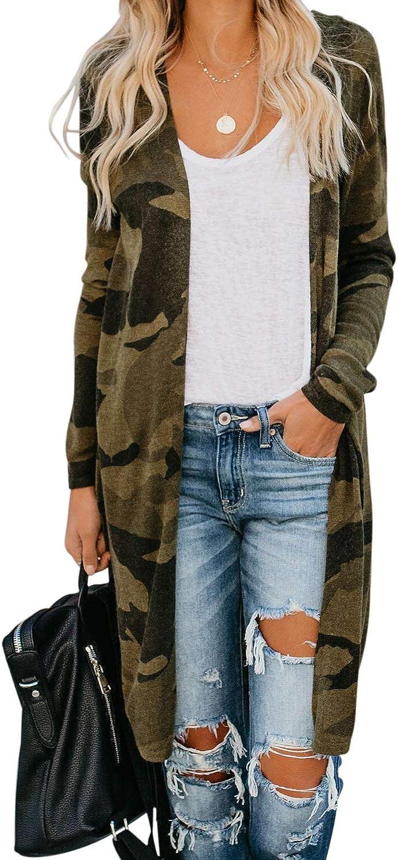 ONNTFE Women Long Camouflage Coat Cardigan Long Sleeve Coat Parka Outerwear Open Front Tops