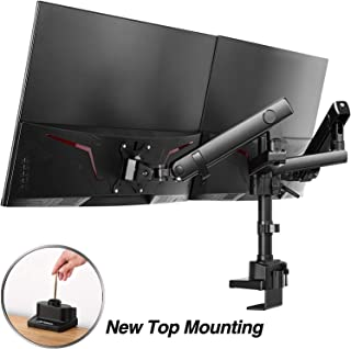 """AVLT Dual 13""""-32"""" Monitor Arm Desk Mount fits Two Flat/Curved Monitor Full Motion Height Swivel Tilt Rotation Adjustable Monitor Arm - Extra Tall/VESA/C-Clamp/Grommet/Cable Management"""