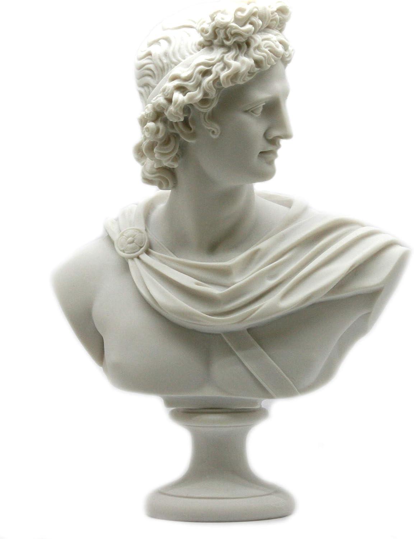 Apollo Greek Roman God Bust Head Statue Cast Marble Sculpture Ha