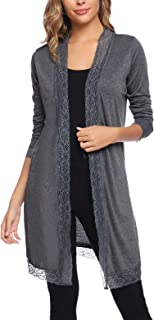 Women's Open Front Cardigans Casual Long Sleeve Knit Cardigan Lace Trim Cardigans for Women