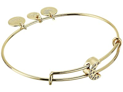 Alex and Ani Pave Moon Symbol Bead Bangle Bracelet (Shiny Gold) Bracelet