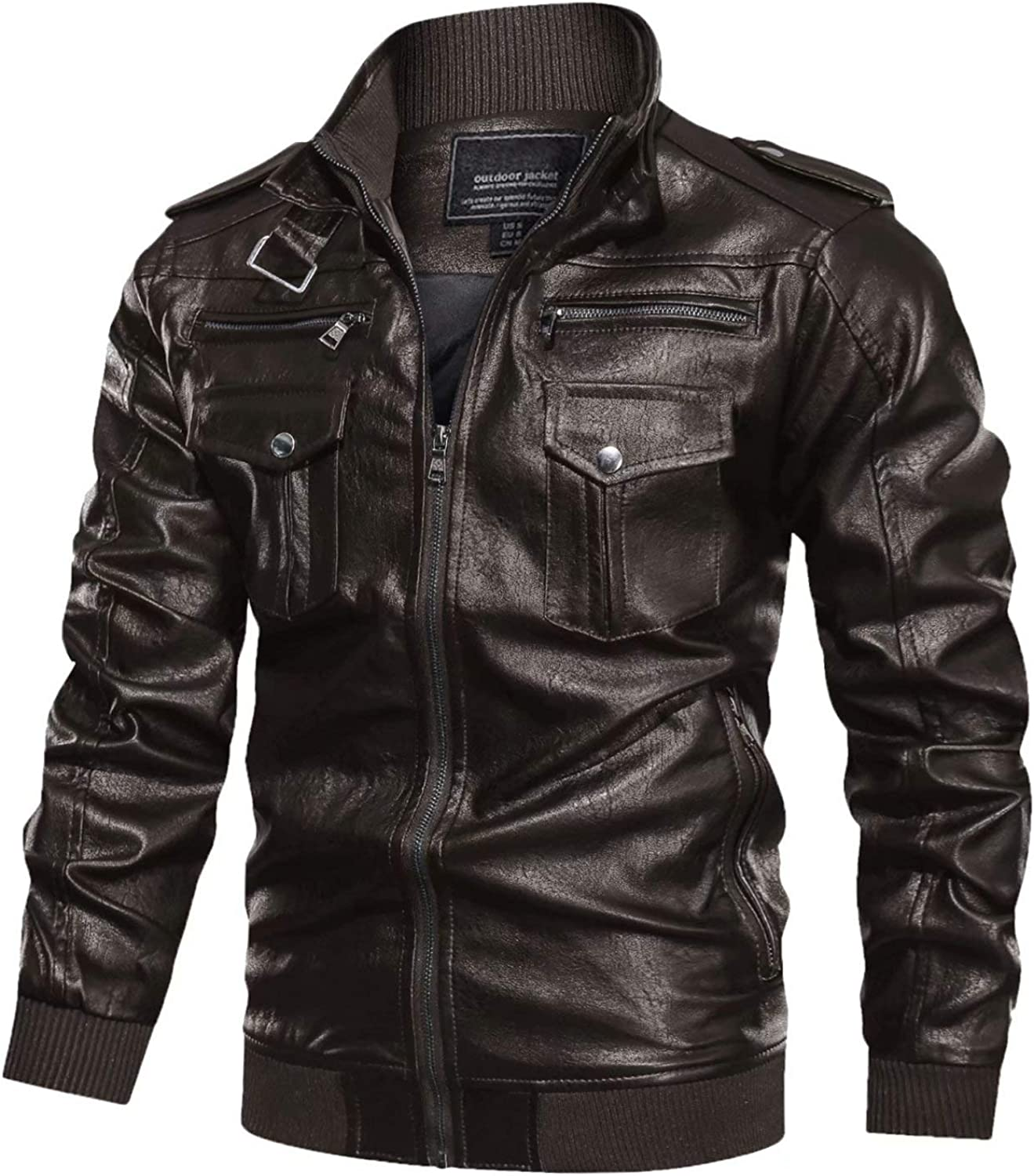 MAGCOMSEN Mens Max 62% OFF Men's Vintage Pu Faux 6 Pocke with Jacket Leather Lowest price challenge