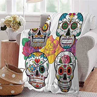CRANELIN Printing Artwork Blanket Different Types of Skulls Rich and Colorful Ornaments Roses Border Carnival Multicolor Couch Bed Napping Reading Recliner W57 xL74