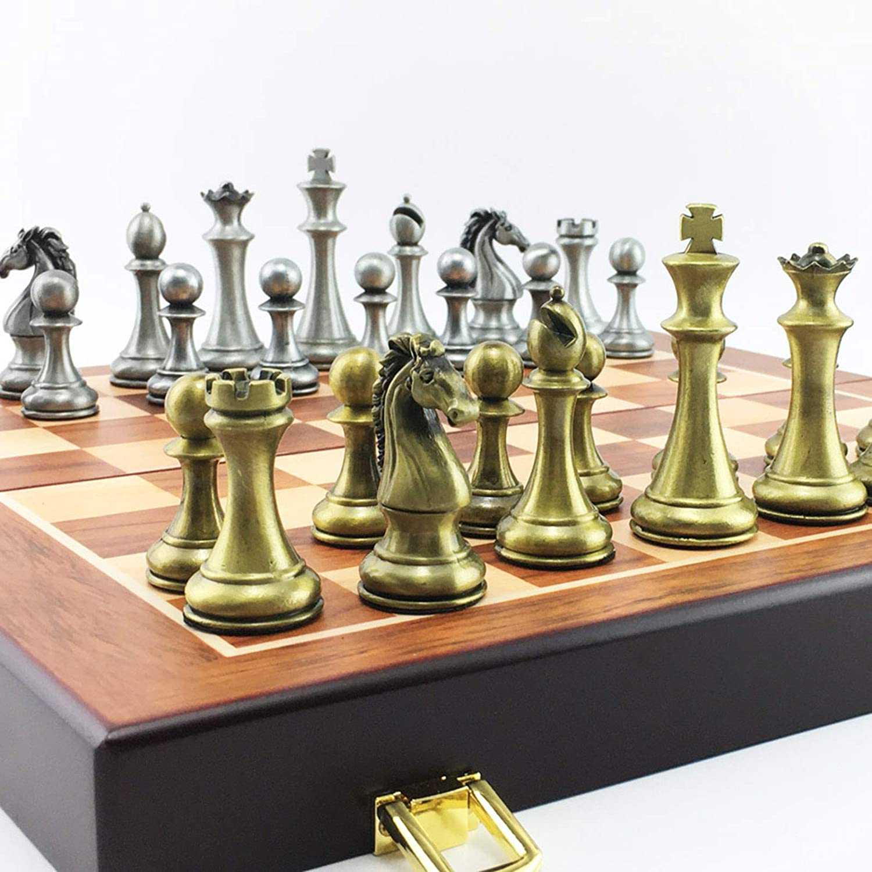 Metalen schaakspel Draagbaar spel van internationaal schaak Houten opvouwbaar schaakbord Koning Hoogte 67 mm Schaakspel Casual puzzelfeest B