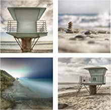 Landscape Wall Art Carlsbad California Beach 4 Piece 12x12 Photograph Print Grouping of Lifeguard Towers Stacked Rocks Long Exposure Night Scape 100 lb Cover Ready to Frame and Hang in your Home