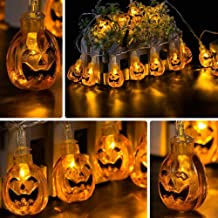 Jhua 20-LED Orange Pumpkin Lights 80inches 3D Pumpkin LED String Light Powered by Battery LED Fairy String Lights for Halloween Christmas Festival Decoration Lanterns Lights String