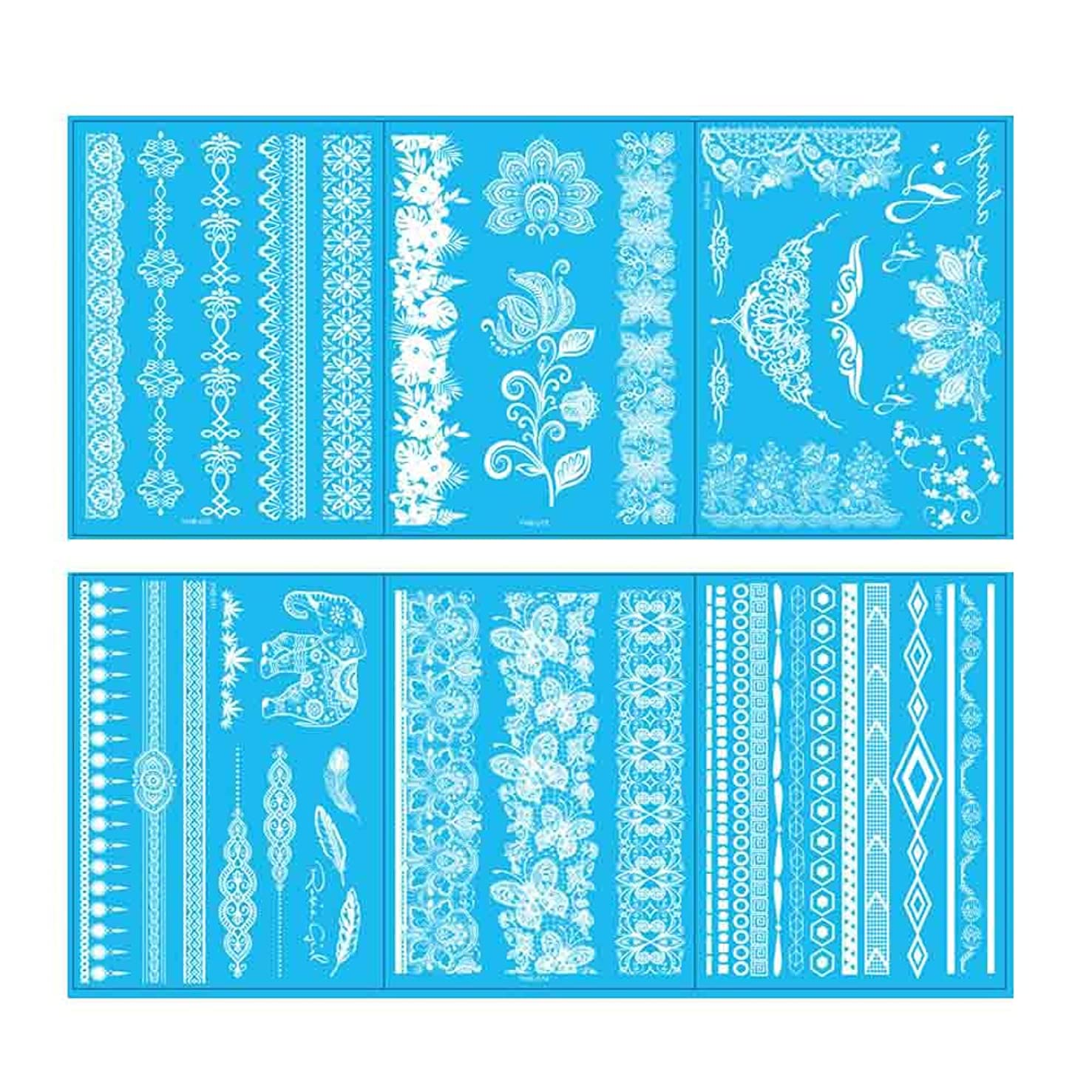 VanTattoo (6Sheets) Fashion Body Art Stickers Removable Waterproof Temporary Tattoo –White lace tattoo?jewelry
