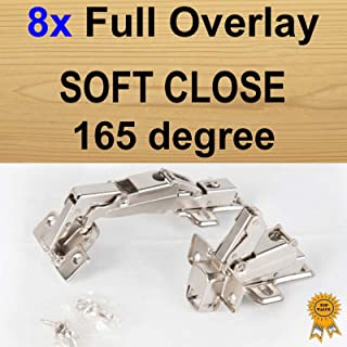 8x Door Kitchen Cabinet Cupboard Soft Close Full Overlay Hinges -165 degree