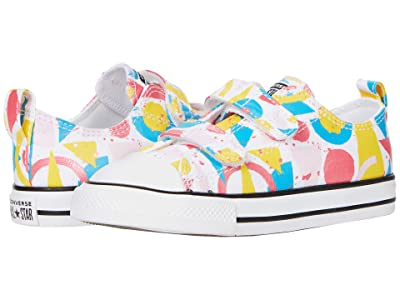 Converse Kids Chuck Taylor(r) All Star(r) Art Class Ox (Infant/Toddler) (White/Carmine Pink/Black) Girl