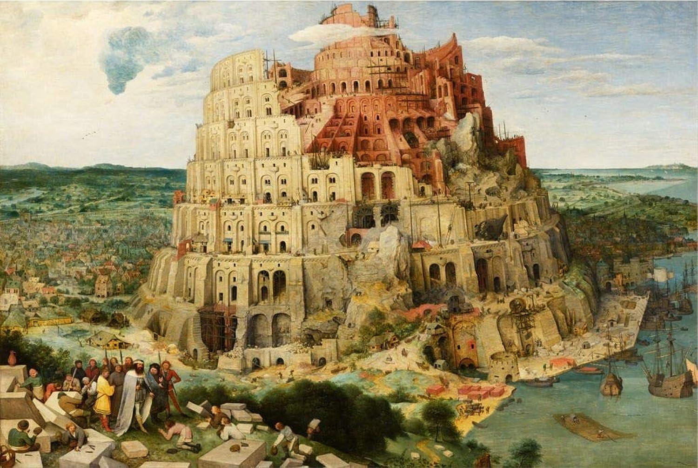 Puzzle House- Holzpuzzle, Babel-Turm von Babylon, Perfect Cut & Fit, 500 1000 1500 Stück Boxed Fotografie Spielzeug Spiel Kunst Malerei für Erwachsene -427 (gre   1500jpc)