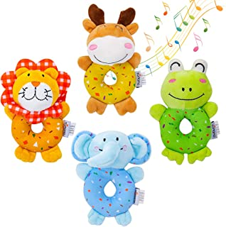 Mumoo Bear Baby Toys, Soft Cute Stuffed Animal Rattles for Baby and Infant Developmental Hand Grip , 4 PCS, multicolored