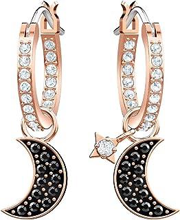 施华洛世奇水晶 Duo 月亮 黑色玫瑰金镀金环状耳环