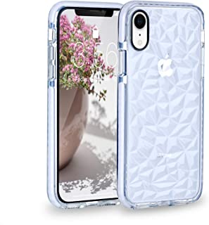 FGA Compatible iPhone XR Case, Clear with Geometric Diamond Designed Slim Lightweight Shockproof Protective Soft Flexible TPU Silicone Case for iPhone XR-6.1 inch (2018) (White)