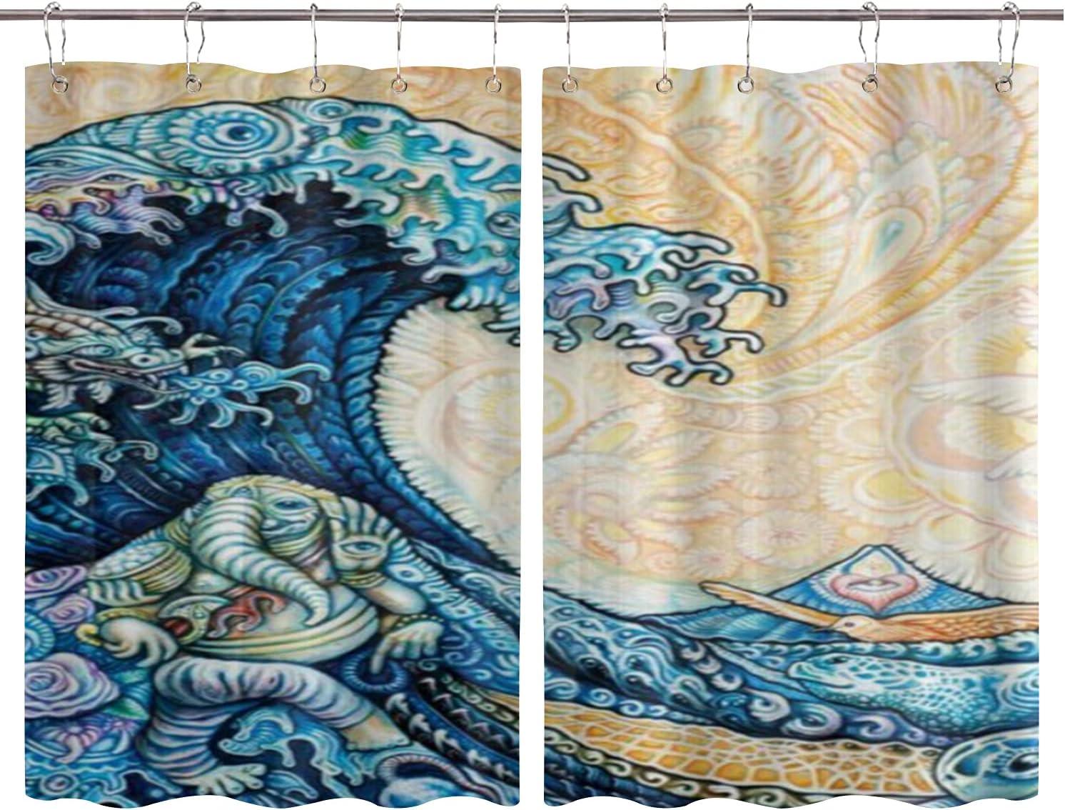 BOKEKANG Cortinas para Ventana de Cocina,Mandala japonés La Gran Ola de Tortugas Dragón Elefante Clásico,Cortina Corta para Cocina Decoración de Ganchos para Baño,Pack 2,140x100cm