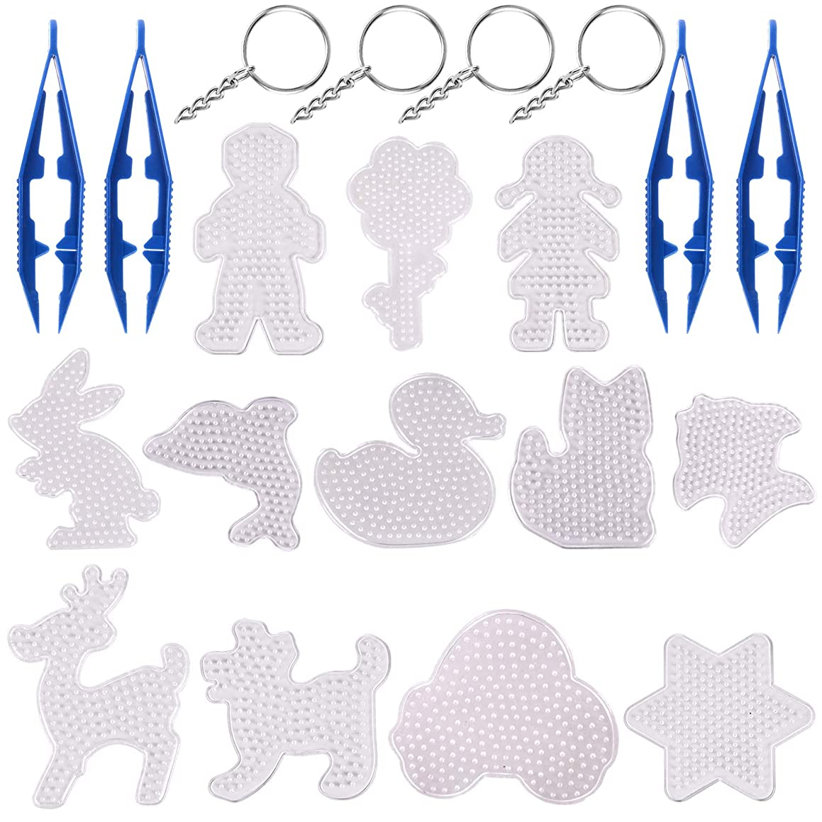 CKANDAY 12 Pieces Clear Fuse Beads Pegboards,with 4 Pcs Beads Tweezers and 4 Metal Key Ring with Chain, Plastic Template Beads Boards Animal Flower Girl Boy Car Shape for Kids Craft