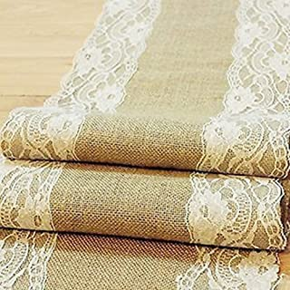 OZXCHIXU(TM) Natural Burlap Table Runner with Lace Party Wedding Decor Rustic Shabby (Length: 94