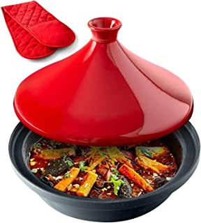 Uno Casa Tagine Pot - 3.65-Quart Moroccan Tagine with Enameled Cast Iron Base and Cone-Shaped Lid