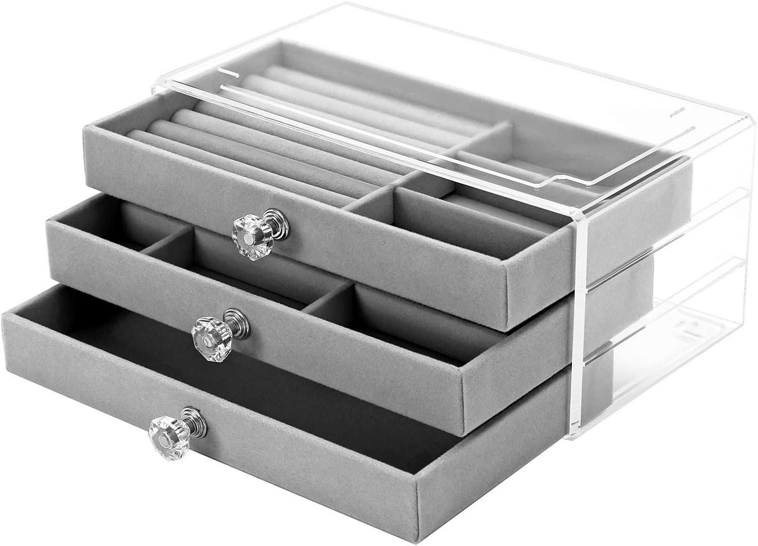 Sooyee 3 Drawers Acrylic Jewelry Box with Crystal Handle,Velvet Jewelry Organizer for Woman,Girls, Clear Jewellery Storage Display Case for Earring, Rings, Necklaces and Bracelets