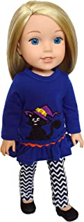 Brittany's Spooky Kitten Outfit Compatibile with Wellie Wisher Dolls, Glitter Girl Dolls, Hearts for Hearts Dolls- 14 Inch Doll Clothes Halloween