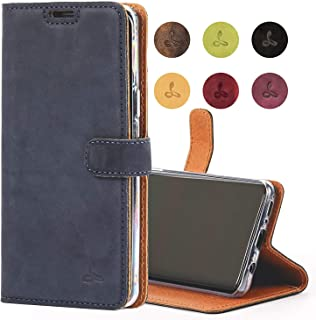 Snakehive Samsung Galaxy S9 Case, Genuine Leather Wallet with Viewing Stand and Card Slots, Flip Cover Gift Boxed and Handmade in Europe for Samsung Galaxy S9 - (Navy)